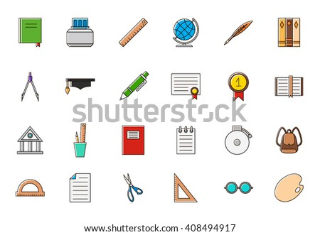 Set of 24 Education colorful icons