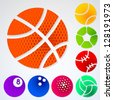 Set of eight different sport ball emblems with halftone texture - stock vector