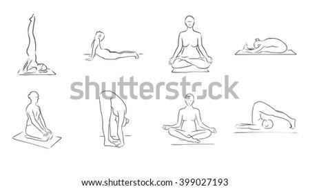 set eight yoga figures clean outline stock vector