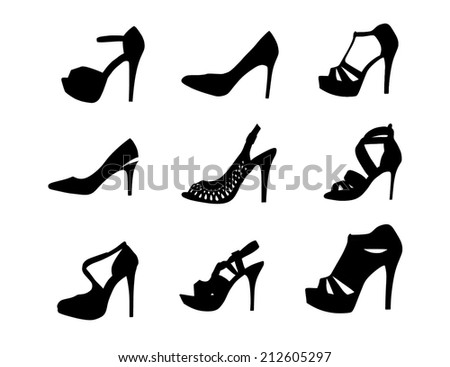 Set of elegant woman shoes vector isolated on white background.