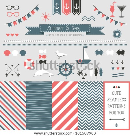 Set of elements for design. Sea and summer. The kit includes ribbons, bows, anchor, hearts, arrows and striped vector patterns