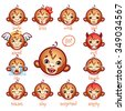 Set of emoticons funny monkey. Smile, kiss, wink, sad, evil, cry, laugh, teases, shy, surprised, angry. Cute ape faces showing different emotions - stock vector