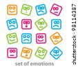 Set of emotions - a collection of signs representing various emotions: joy, sadness, anger, confusion, emotion, etc. vector - stock vector