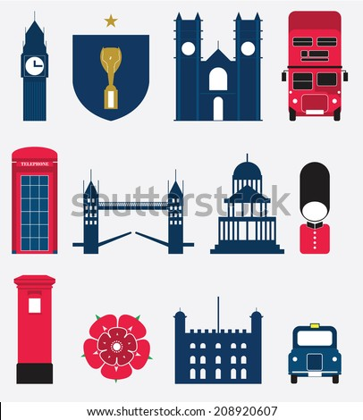 retro style poster london symbols landmarks stock vector