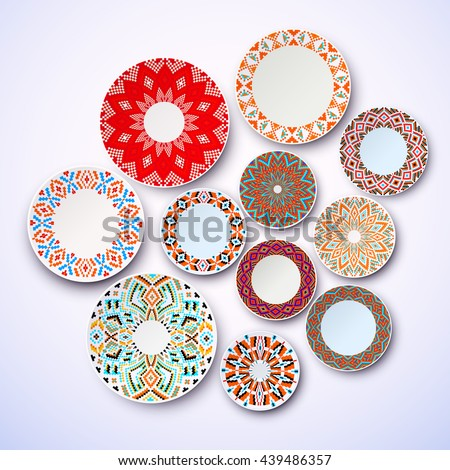 Set of ethnic dishes, wall with plates, interior decoration, table setting. The background plates on the wall. Isolated dish, menu designs ethnic plates. Vector illustration