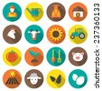 Set of farming harvesting and agriculture decorative icons set of animals plants tools isolated flat style icons in circles with long shadows. Vector illustration.  - stock vector