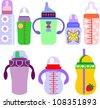 Set of Feeding Milk Bottles on White Background, Clip-Art Illustration, Vector Version - stock photo