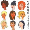 Set of 9 female faces, hairs styles, races - stock vector
