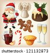 Set of festive food and decorations for christmas table - stock vector