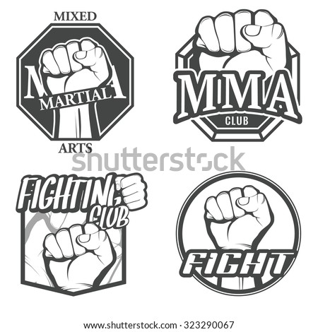 Set Colorful Fighting Icons Mma Labels Stock Vector 324084764 ...