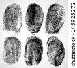 Set of fingerprints, vector illustration - stock
