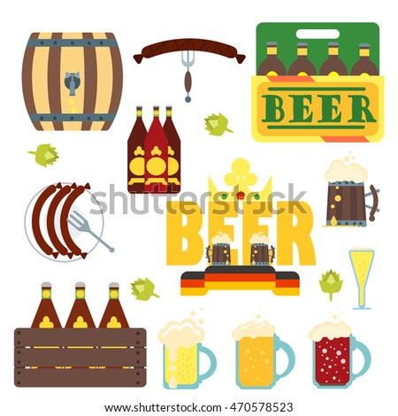 Set of flat design icons for Oktoberfest isolated on white vector. Set of German Oktoberfest vector design elements. Bavarian glass alcohol design festival traditional october sign.