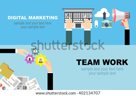 flat designed banners graphic design web stock vector 228083542