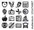 Set of flat icons about school - stock vector