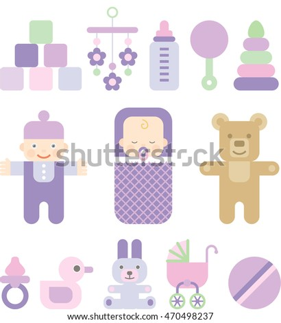 set of flat icons for kids