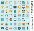 Set of flat social media icons - part 1 - vector icons - stock vector