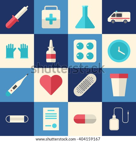 Set of Flat Style Vector Medical Icons. Healthcare, Medicine Concept