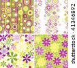Set of floral and geometric seamless pattern backgrounds - stock vector