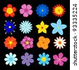 Set of flower blossoms and elements for design and decoration. Jpeg version also available in gallery - stock vector