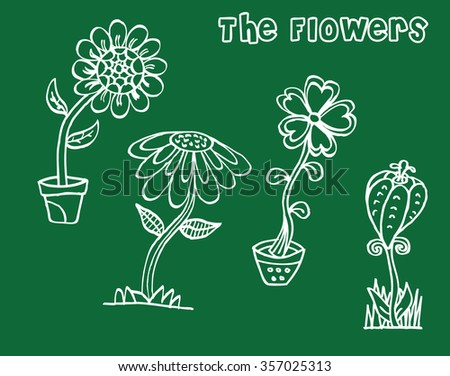 set of flowers in doodle style