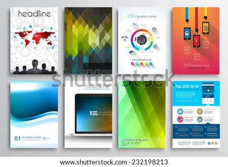 Set Flyer Design Web Templates Brochure Stock Vector 244109524