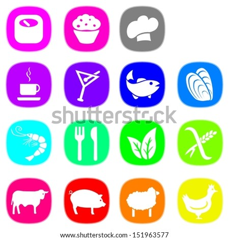 Set of food icons in nice bright colors. This is a vectorial image, can be resized without loss of quality.