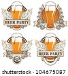 set of four banners with beer and wings - stock vector