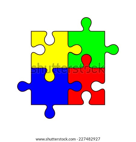 Set of four blank colorful jigsaw puzzle pieces. Group of yellow, blue, red and green color jig saw piece. vector art image illustration, isolated on white background