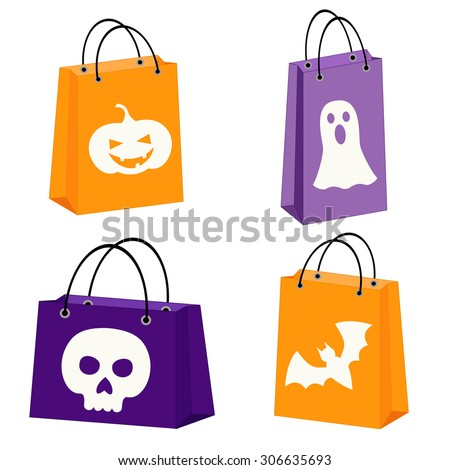 set of four Halloween bags with images of a bat, scull, jack-o-lantern and a ghost