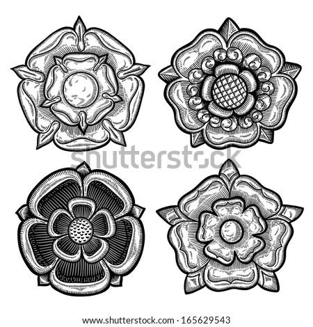pin black rose heraldic white line art coloring book colouring on pinterest. Black Bedroom Furniture Sets. Home Design Ideas