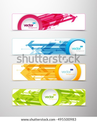 Set of four horizontal banners with arrows and circle for your text or number - version with white middle circle and sample text.