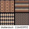 Set of four knitted swatches with fair isle patterns - stock vector