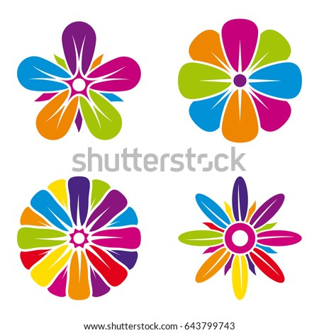 Set Of Four Multicolor Flower Icons On White Background