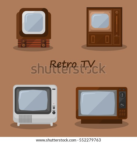 Set of four old TVs. Isolated.