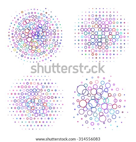 set of four round bubbles halftone objects