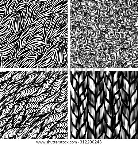 Set of four seamless doodle pattern, vector illustration