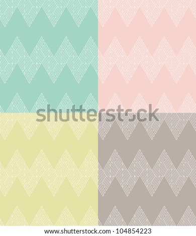 Set of four seamless ornament in zigzag with line. Geometric pattern