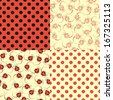 Set of four textures on ladybirds style - stock