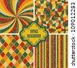 Set of four vintage background. Seamless textures, retro design - stock vector
