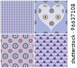 set of four white/purple seamless patterns - stock vector