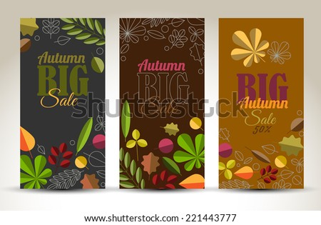 Set of fresh minimalist autumn vertical banners with leafs and sample text - dark version