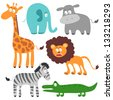 Set of funny African animals - stock vector