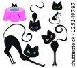 Set of funny black cats - stock photo