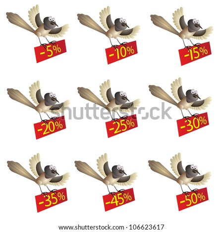 Set of funny flying birds with information about discount stock