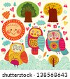 Set of funny owls, sun, trees and flowers - stock vector