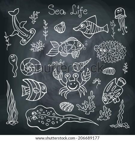 funny restaurant life vector illustration sketch seafood card menu restaurant stock