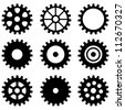 set of gear wheels - stock vector