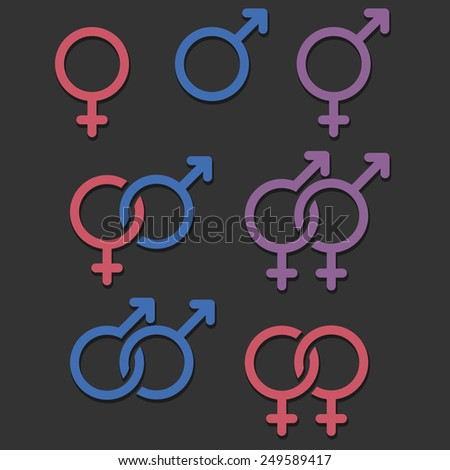 set of gender and orientation icons