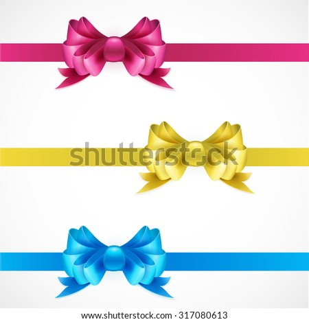 Set of gift bows with ribbons. Pink, gold and blue color. EPS 10
