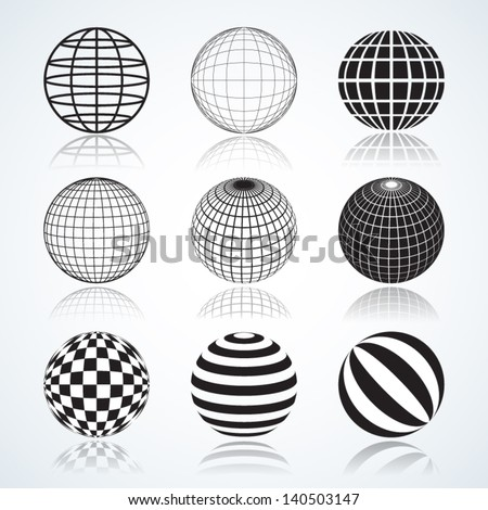 Set of 9 Globes, Abstract Elliptical Design Elements Vector illustrations isolated on white background, useful infographic and logo templates.